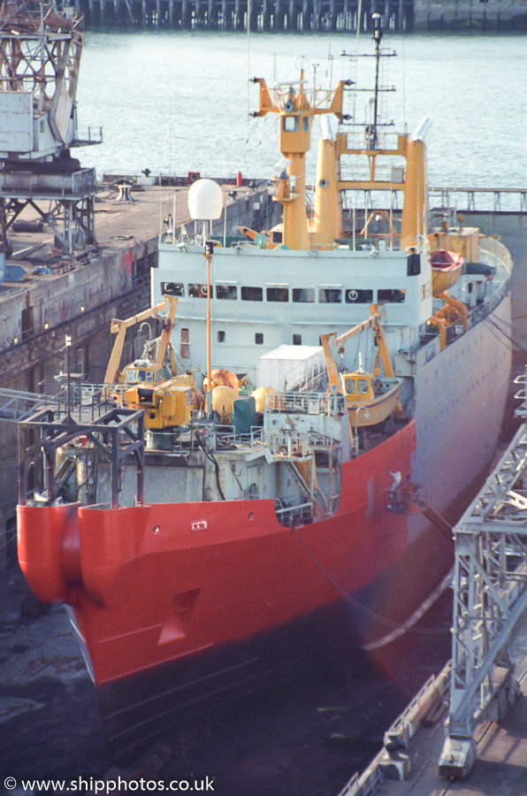 C.S. Iris pictured in dry dock in Falmouth on 26th July 1989