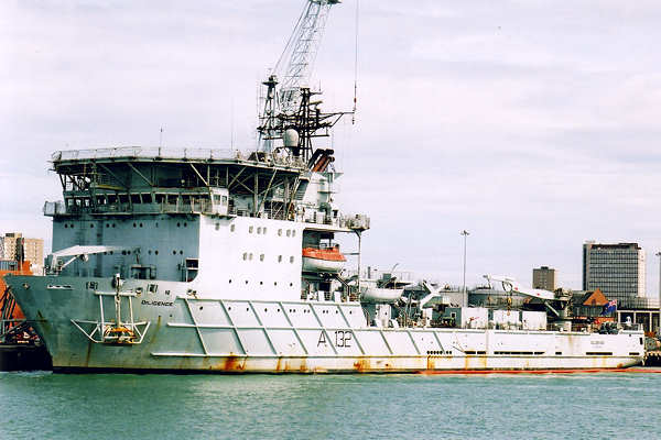 Diligence pictured in Portsmouth Naval Base on 22nd July 2001