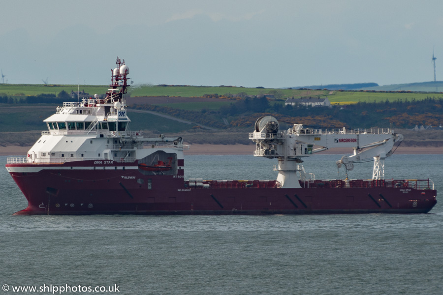 Dina Star pictured at anchor in Aberdeen Bay on 17th May 2015