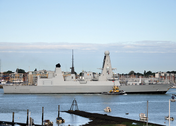 Dragon pictured arriving at Portsmouth Naval Base on 20th July 2012