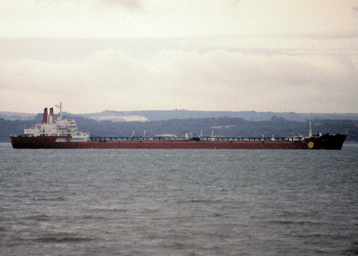 Drupa pictured at anchor in the Solent on 11th August 1991