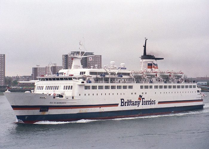 Duc de Normandie pictured departing Portsmouth Harbour on 30th April 1988