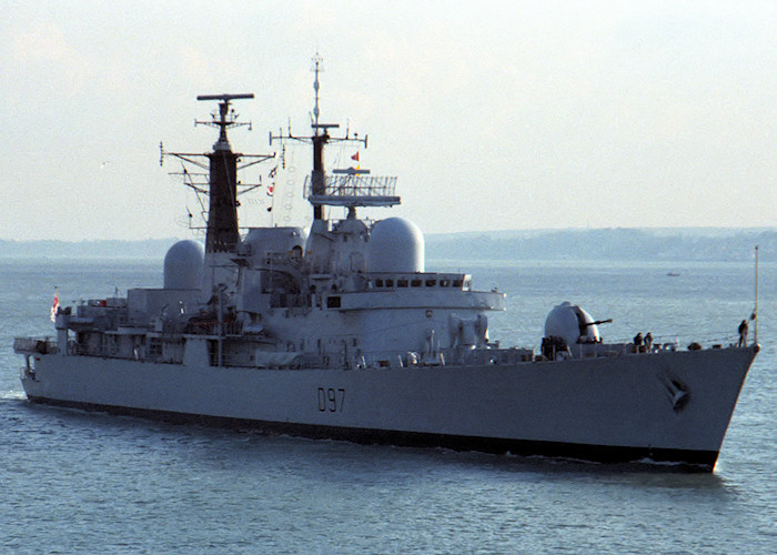 Edinburgh pictured entering Portsmouth Harbour on 25th February 1988