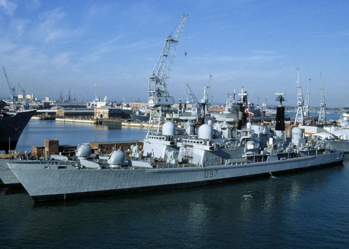 Edinburgh pictured in Portsmouth Naval Base on 15th August 1997