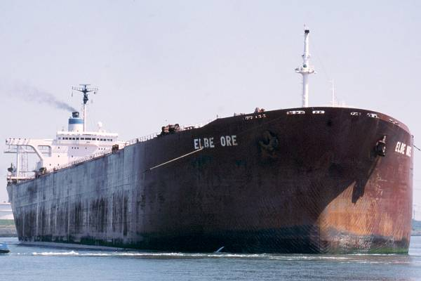 Elbe Ore pictured departing Europoort on 17th June 2002