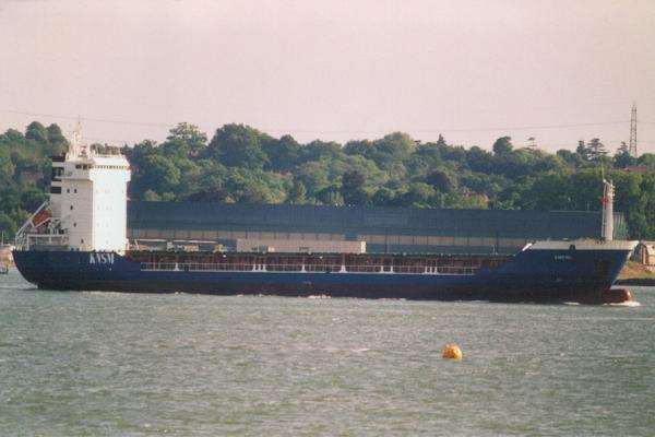Emstal pictured arriving in Southampton on 28th May 2000