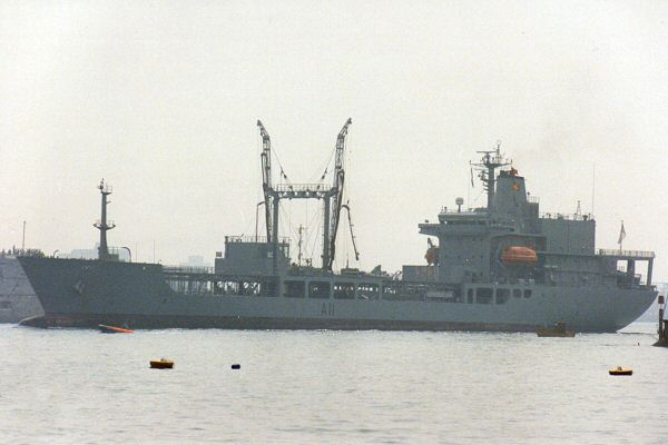 Endeavour pictured arriving in Portsmouth on 2nd July 1993