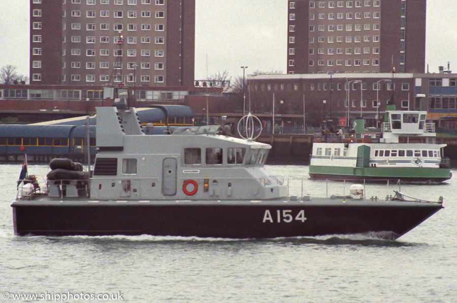 Explorer pictured in Portsmouth Harbour on 4th March 1989
