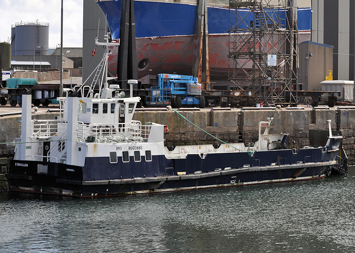Eynhallow pictured undergoing refit at Peterhead on 15th April 2012