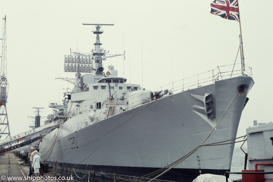 Fife pictured at Portsmouth Naval Base on 25th August 1984