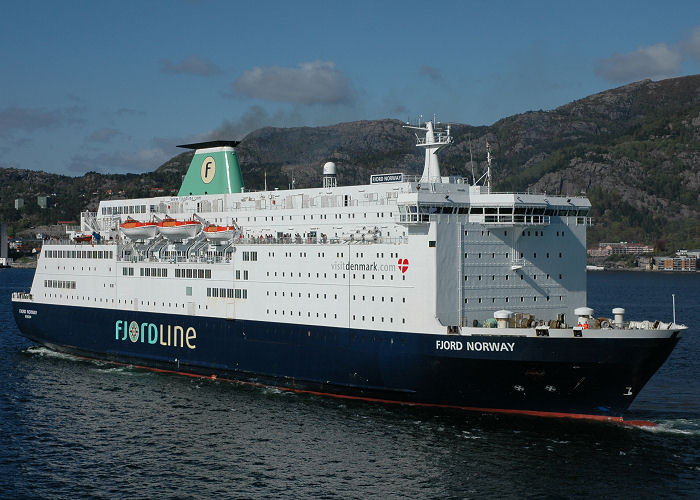 Fjord Norway pictured departing Bergen on 12th May 2005