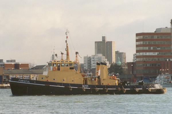 Forceful pictured in Portsmouth Harbour on 25th January 1994
