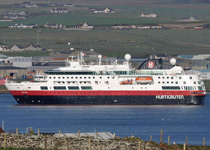Fram pictured arriving at Kirkwall on 9th May 2013