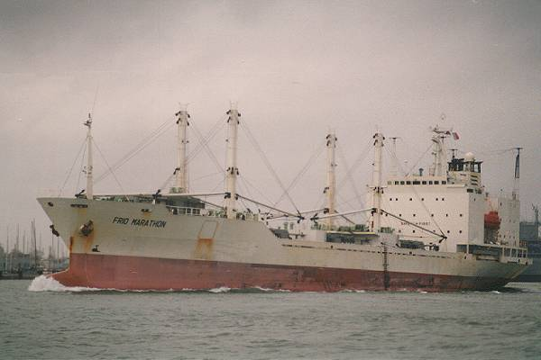 Frio Marathon pictured departing Portsmouth Harbour on 12th January 1996