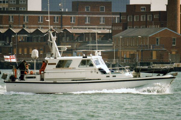 Gleaner pictured departing Portsmouth Harbour on 1st April 1996