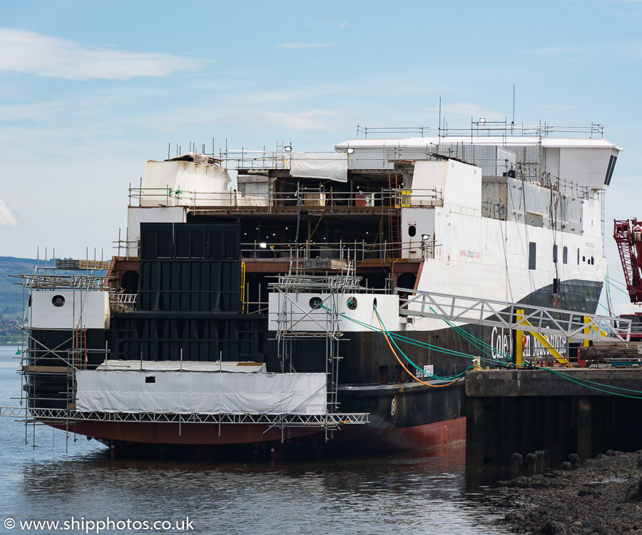 Glen Sannox pictured fitting out at Port Glasgow on 7th May 2018