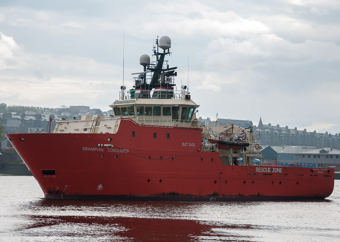 Grampian Conqueror pictured departing Aberdeen on 4th May 2014