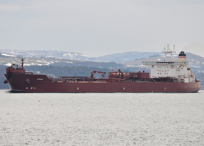 Grena pictured on the River Clyde heading for Finnart Ocean Terminal on 30th March 2013