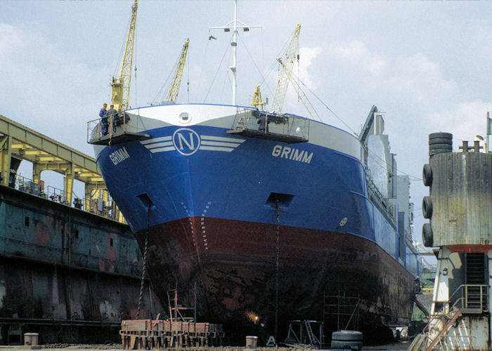Grimm pictured in dry dock at Hamburg on 9th June 1997