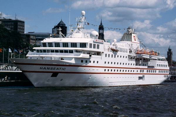 Hanseatic pictured at Hamburg on 29th May 2001