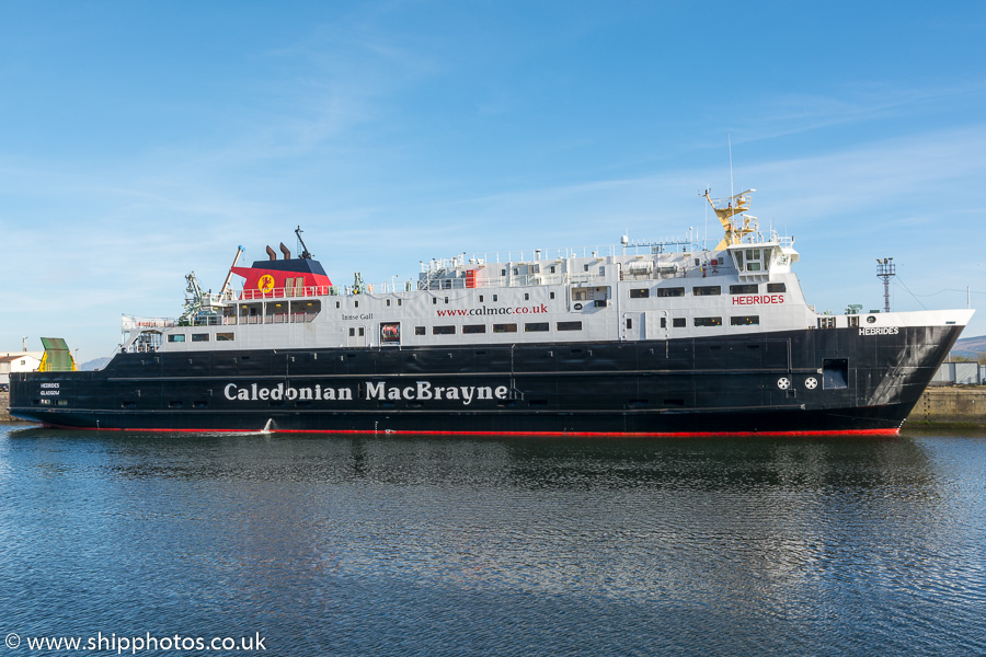 Hebrides pictured in James Watt Dock, Greenock on 27th March 2017