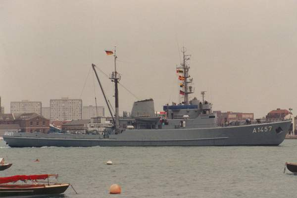 Helgoland pictured arriving in Portsmouth Harbour on 18th June 1992