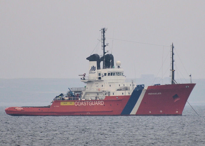Herakles pictured at anchor in Inganess Bay on 8th May 2013