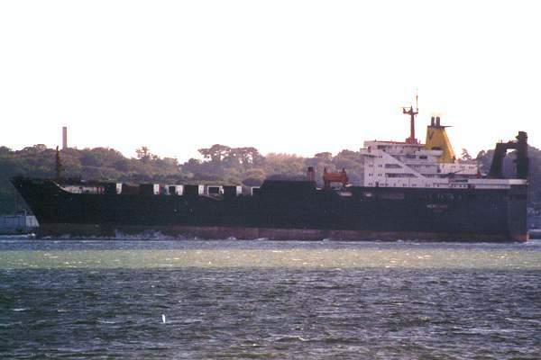 Hereford pictured departing Southampton on 6th October 2001