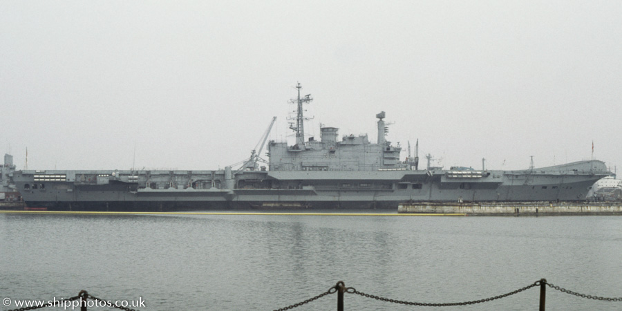 Hermes pictured laid up at Portsmouth Naval Base on 25th August 1984
