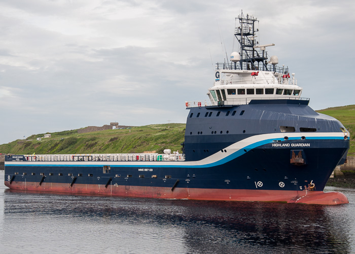 Highland Guardian pictured arriving at Aberdeen on 12th June 2014