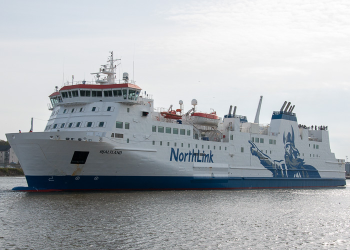 Hjaltland pictured departing Aberdeen on 3rd May 2014