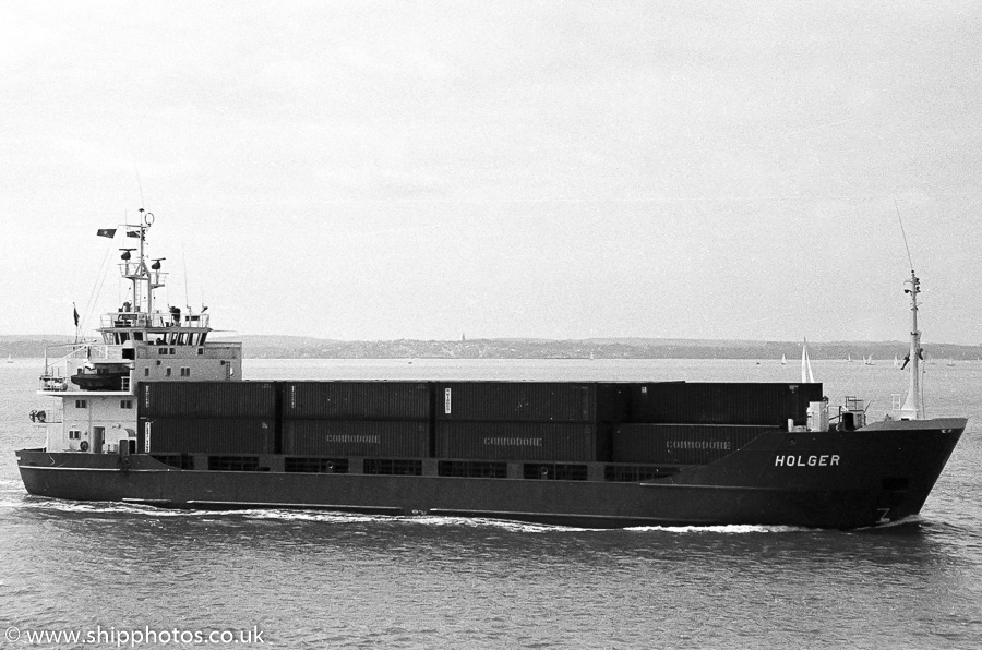 Holger pictured approaching Portsmouth Harbour on 25th March 1989