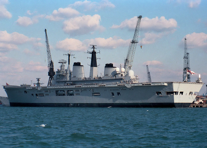 Illustrious pictured in Portsmouth Naval Base on 26th September 1987
