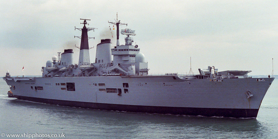 Illustrious pictured entering Portsmouth Harbour on 25th June 1988