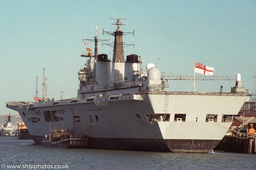 Illustrious pictured in Portsmouth Naval Base on 14th January 1989