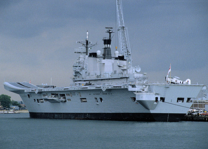 Illustrious pictured in Portsmouth Naval Base on 29th May 1994
