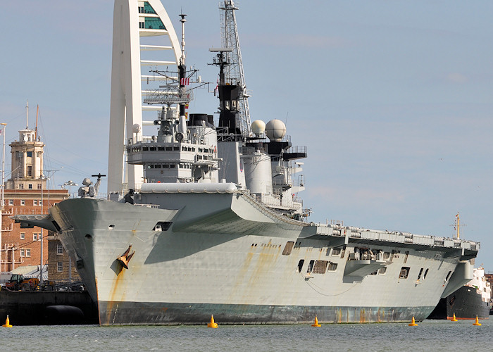 Illustrious pictured in Portsmouth Naval Base on 20th July 2012