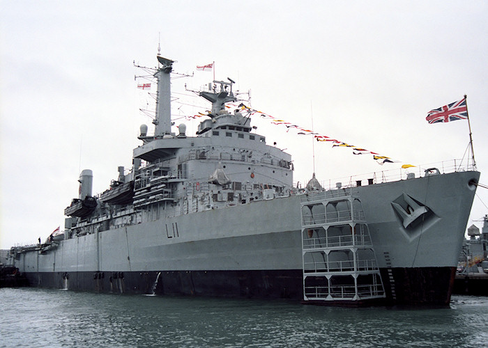Intrepid pictured departing Portsmouth Harbour on 2nd June 1988