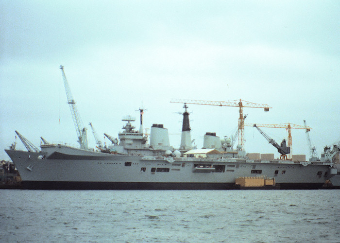 Invincible pictured in Devonport Naval Base on 10th August 1988