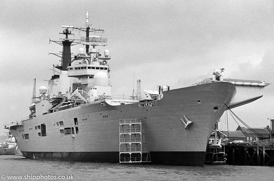 Invincible pictured in Portsmouth Naval Base on 30th April 1989