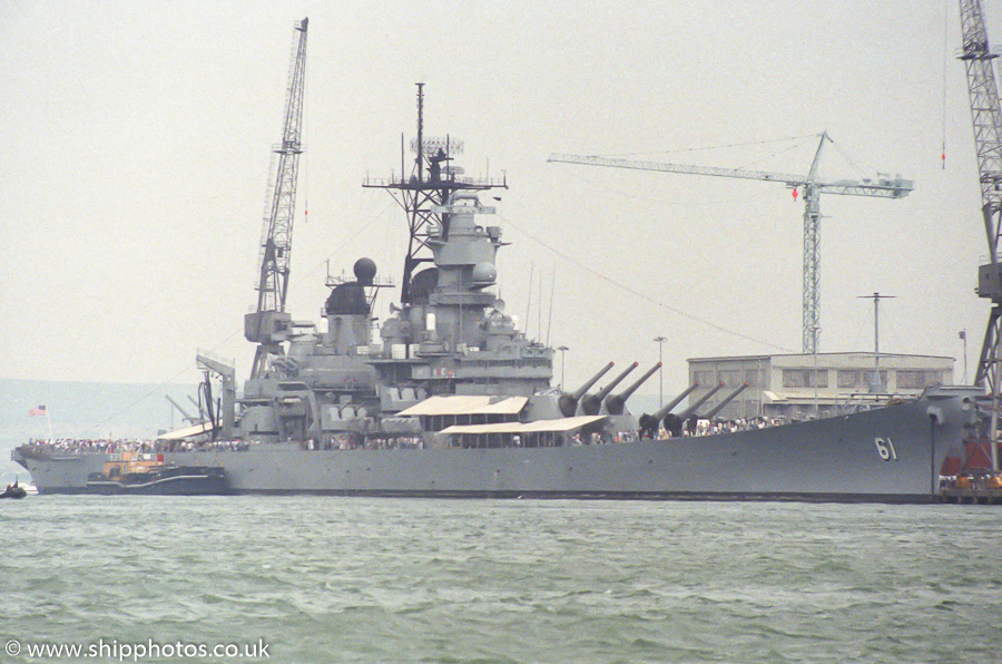 Iowa pictured in Portsmouth Naval Base on 5th July 1989