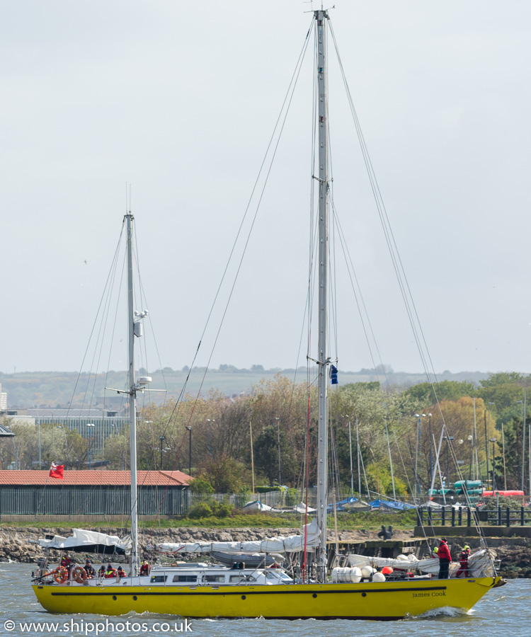 James Cook pictured in the mouth of the River Tyne on 4th May 2019