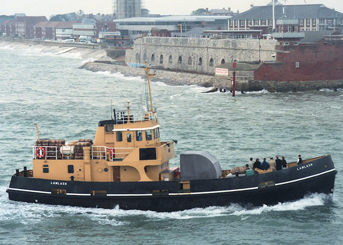 Lamlash pictured entering Portsmouth Harbour on 26th October 1988
