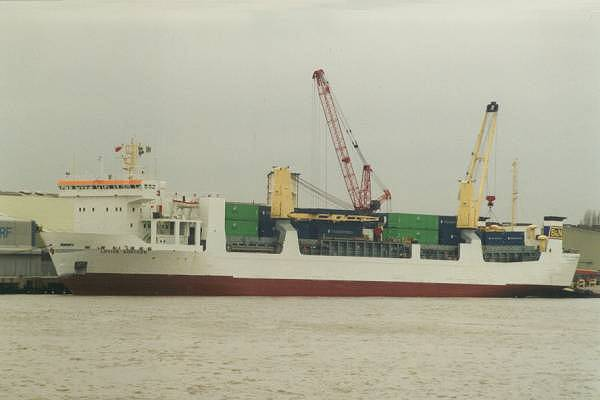 Lovisa Gorthon pictured at Convoy's Wharf, Deptford on 12th May 1997