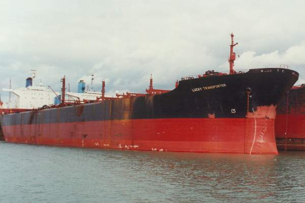 Lucky Transporter pictured laid up on Southampton Water on 5th September 1992