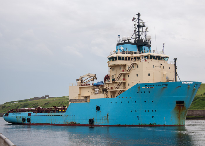 Mærsk Assister pictured arriving at Aberdeen on 10th June 2014