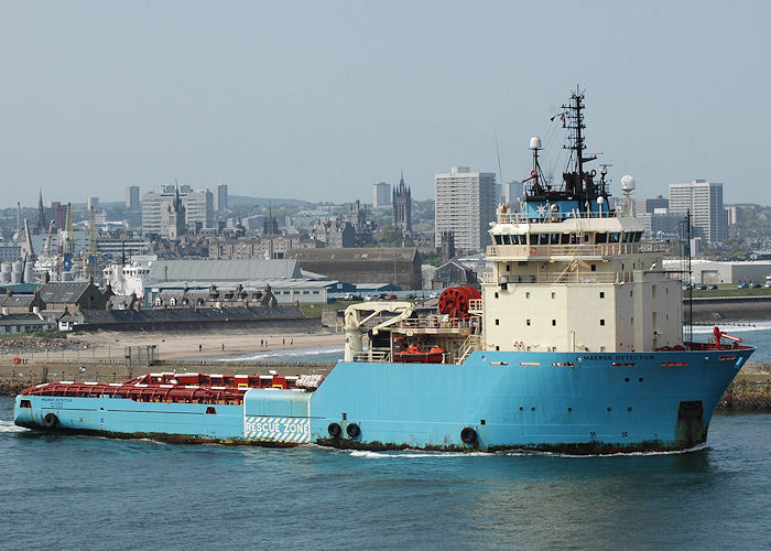 Maersk Detector pictured departing Aberdeen 29th April 2011
