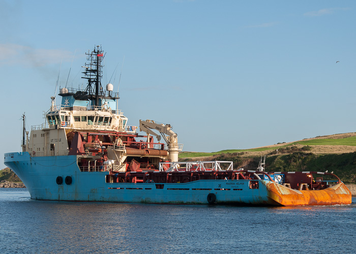 Maersk Helper pictured departing at Aberdeen on 10th October 2014