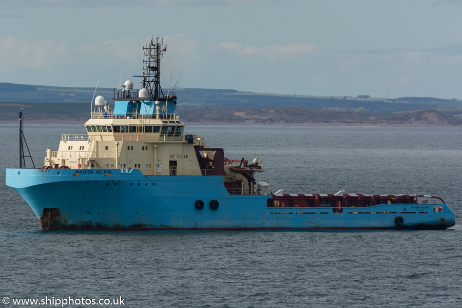 Maersk Helper pictured at anchor in Aberdeen Bay on 17th May 2015