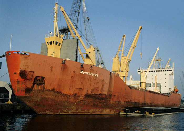 MONCHEGORSK - Ship held in Limosol for transporting small arms from Iran to Syria. Seen in Rotterdam on 27th September 1992